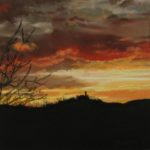 Pastellbild von Eva Jelinek: Starkenburg im Sonnenaufgang