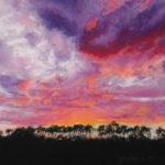 Pastellbild von Eva Jelinek: Ried im Sonnenuntergang