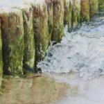 Pastellbild von Eva Jelinek: Buhnen Ostsee