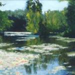 Pastellbild von Eva Jelinek: Manhagen Teich